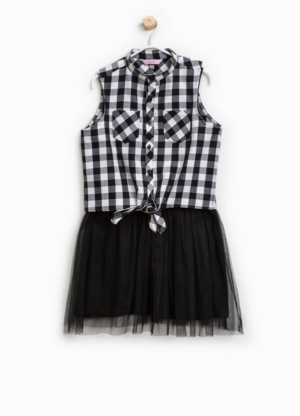 Check dress with tulle | OVS