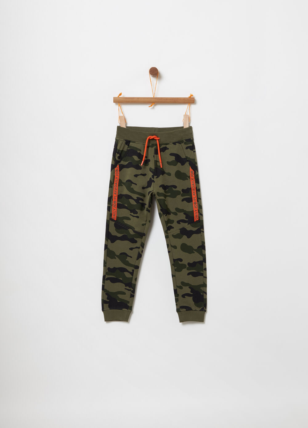 Camouflage trousers in light cotton fleece