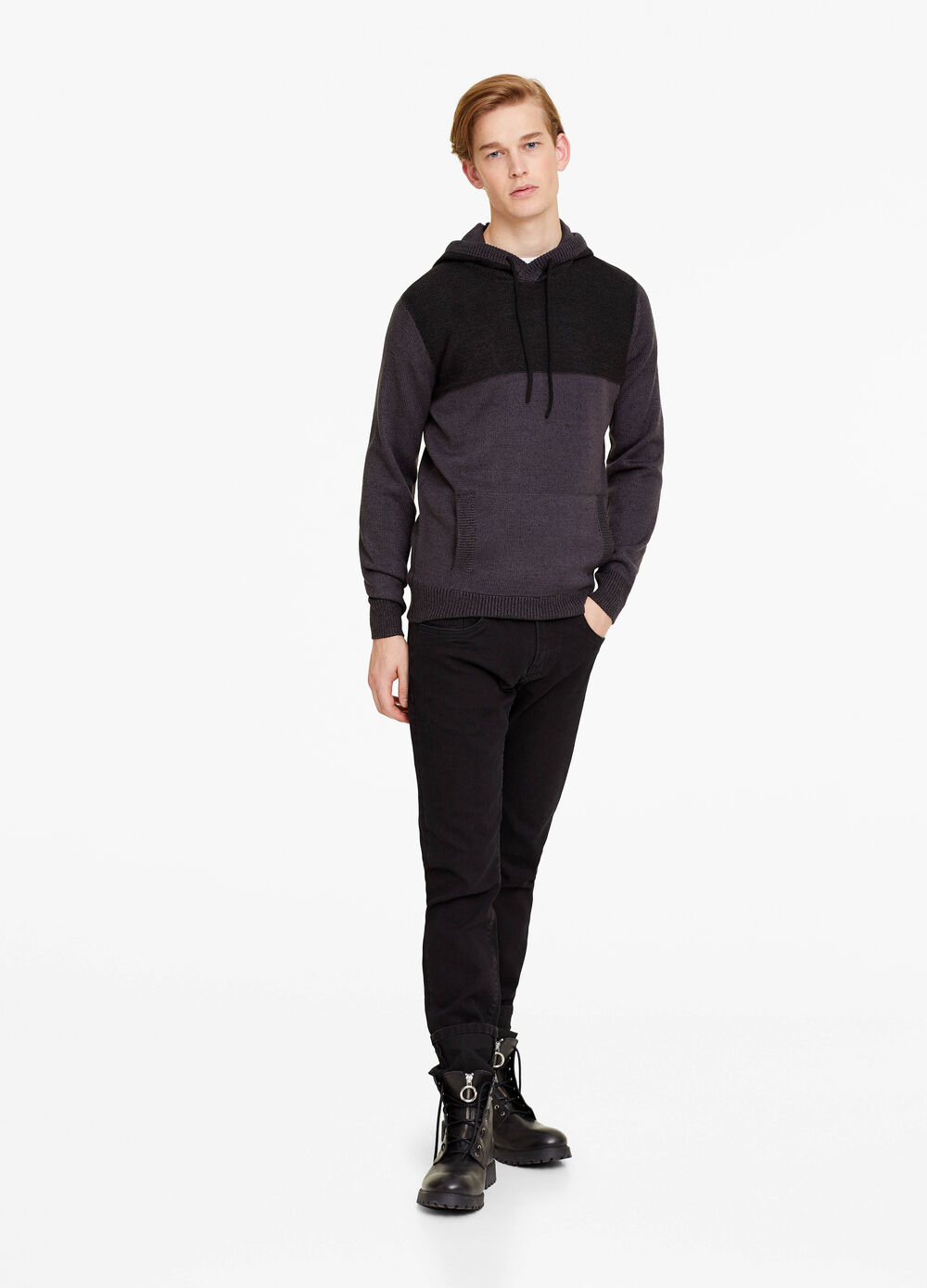 Two-tone pullover with hood