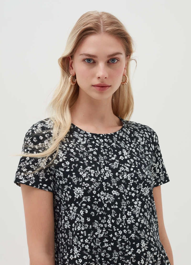 Short cotton dress with flounces image number null