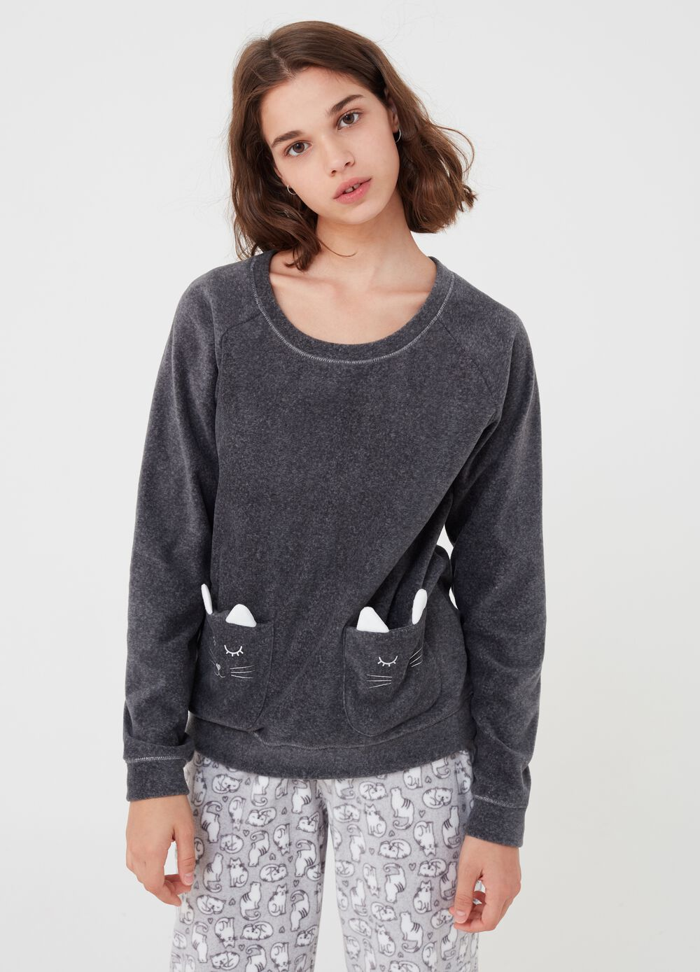 Fleece pyjama top with pockets