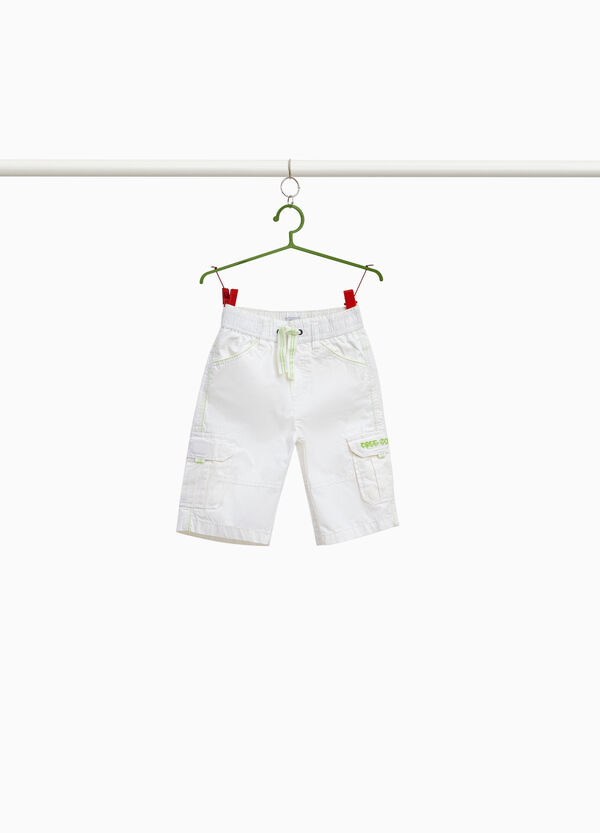 Cargo Bermuda shorts in pure cotton with embroidery