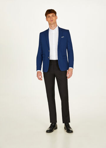 Solid colour cotton slim-fit jacket
