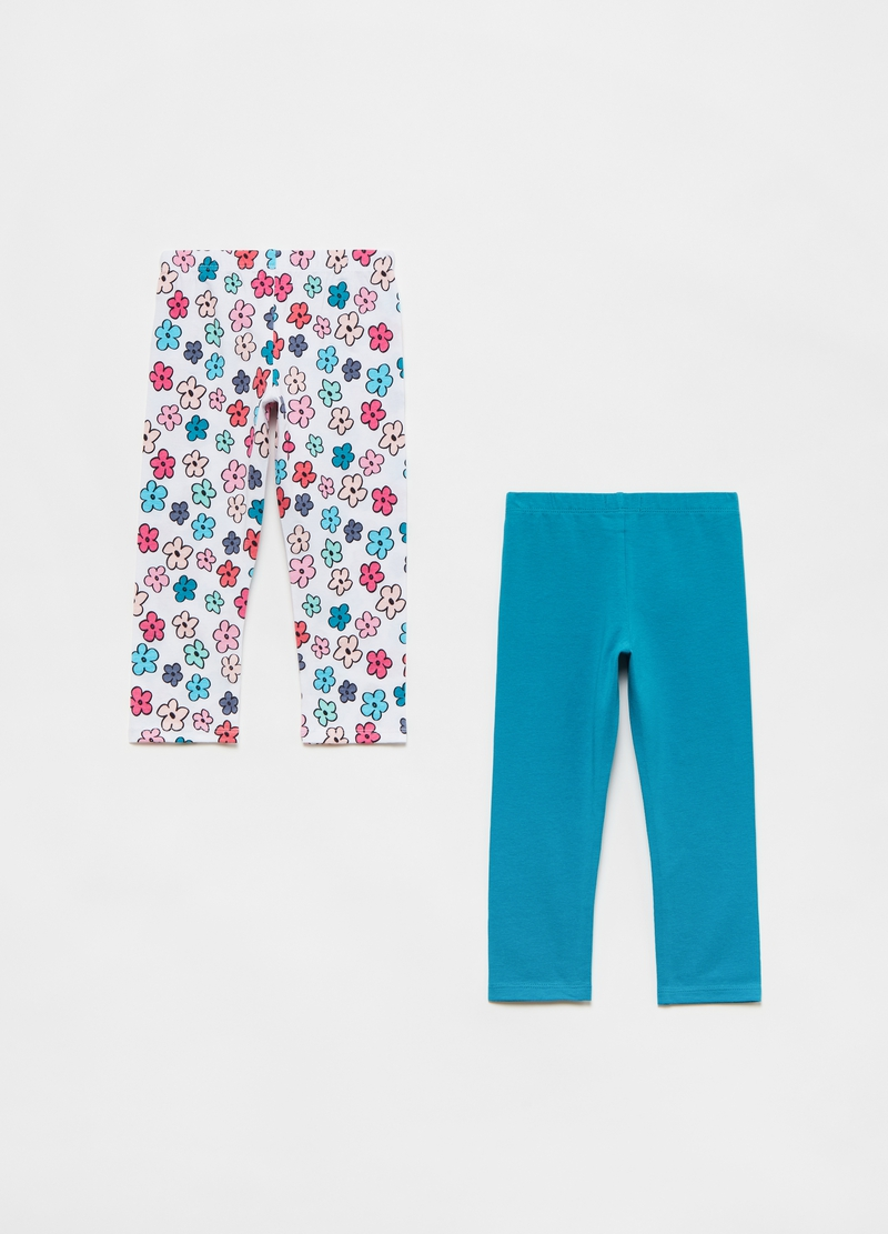 Two-pack leggings with lettering and flowers print image number null