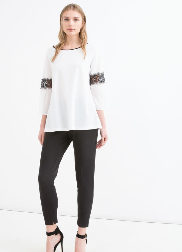Blusa stretch con pizzo | OVS