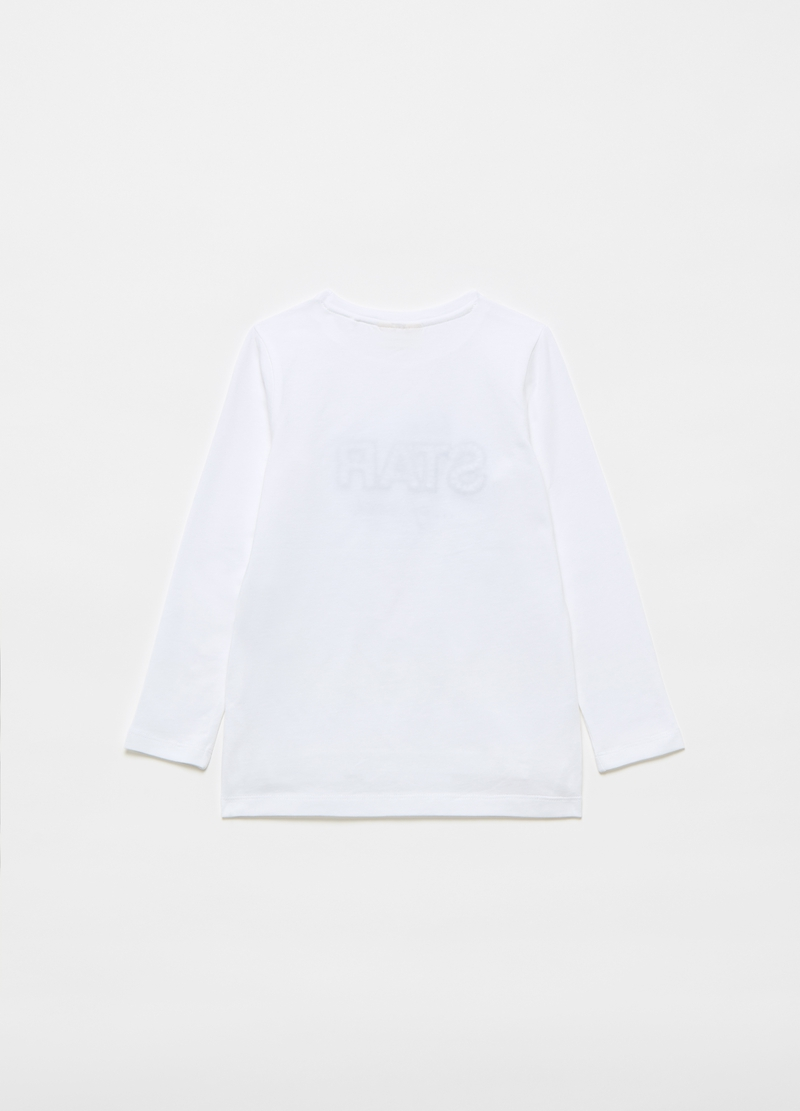 T-shirt in cotone stretch stampa e perle image number null
