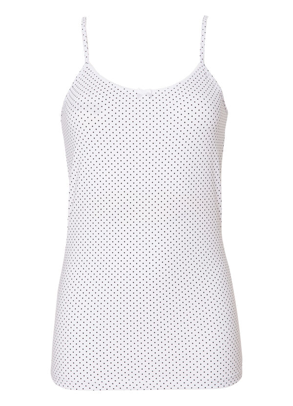 Stretch cotton polka dot print top. | OVS