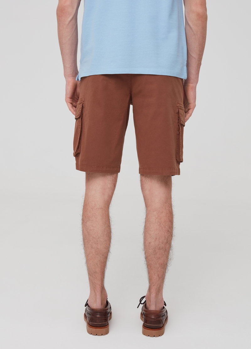 Slim-fit cargo Bermuda shorts in stretch cotton image number null