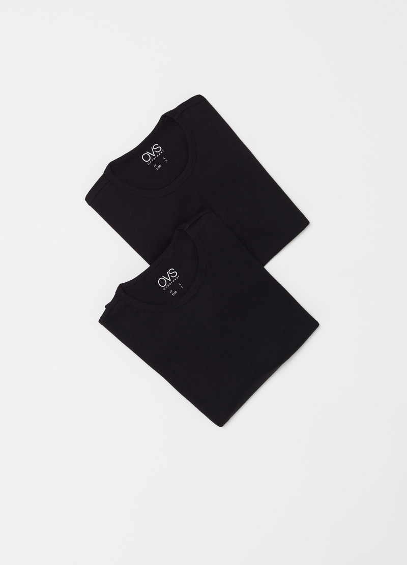 Two-pack 100% cotton T-shirts with ribbing image number null