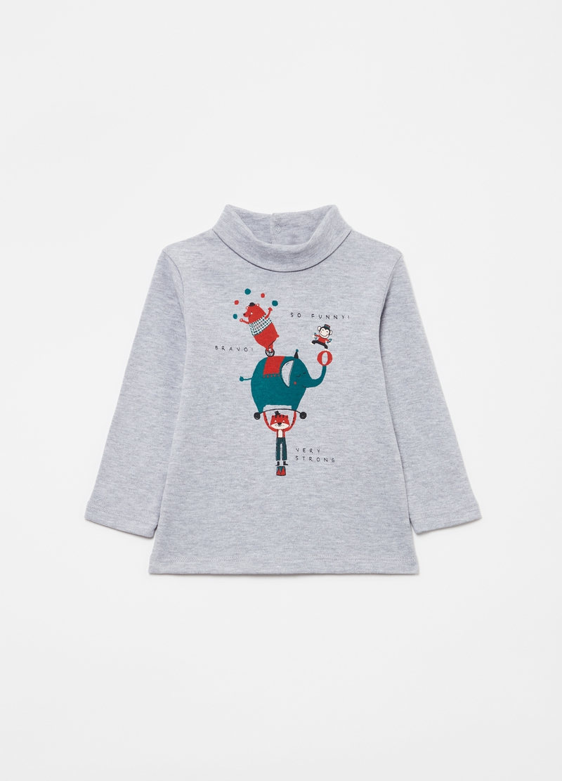T-shirt with high neck and circus animals image number null