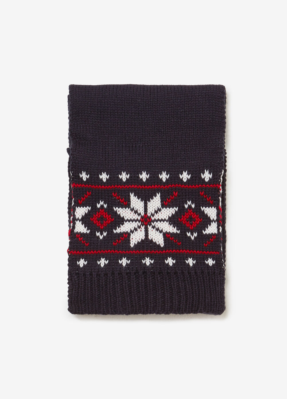 Jacquard scarf with snowflakes