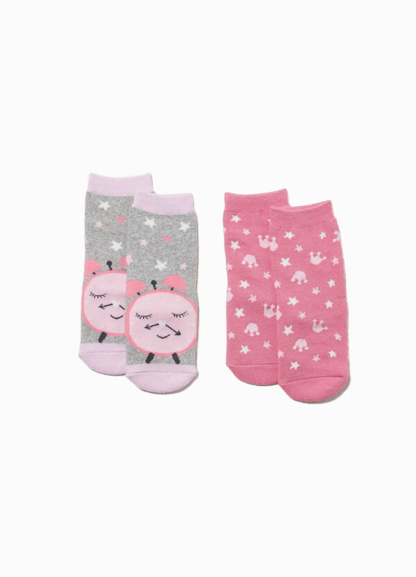 Two-pair pack cotton slipper socks