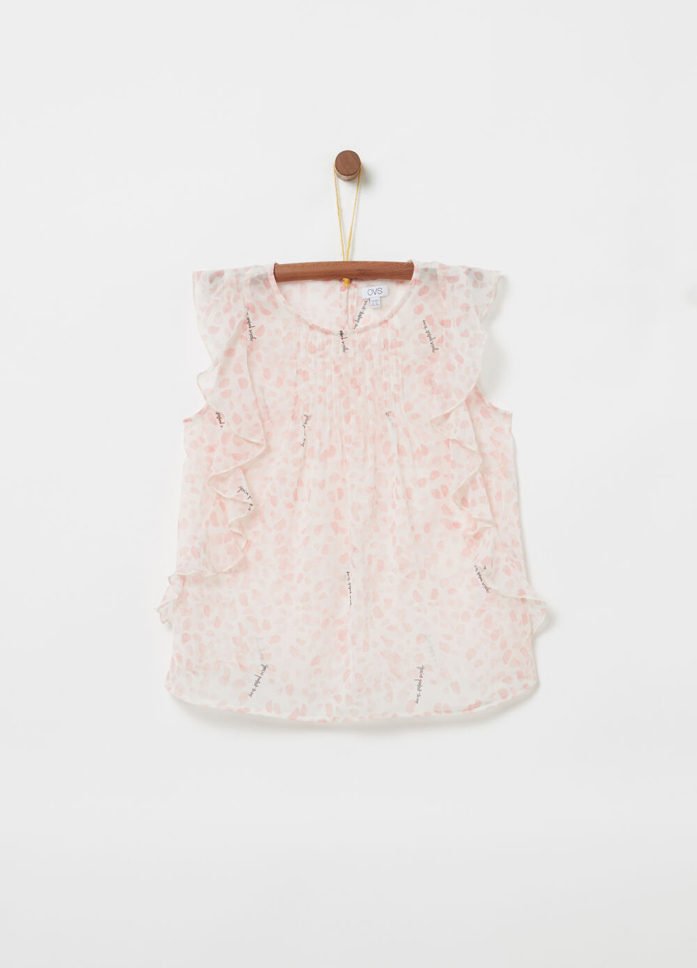 Sleeveless shirt with ruches and print