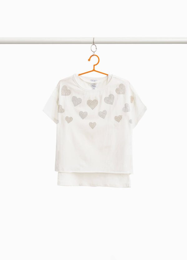 Crop top T-shirt with heart-shaped diamantés