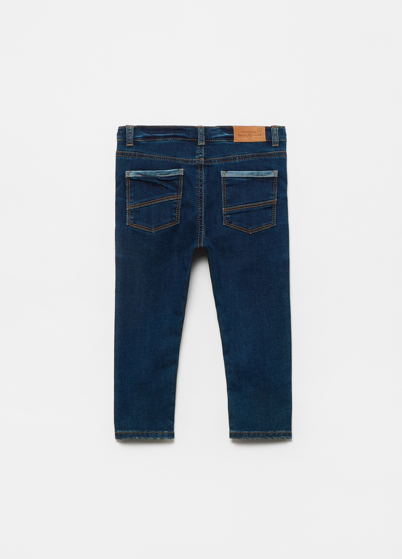 100% cotton jeans with five pockets image number null