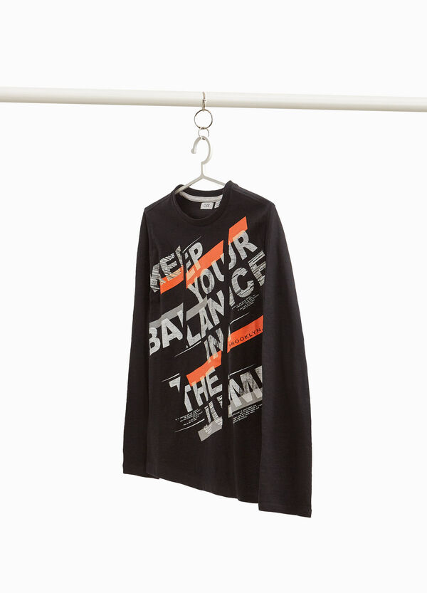 Oversized cotton T-shirt with lettering