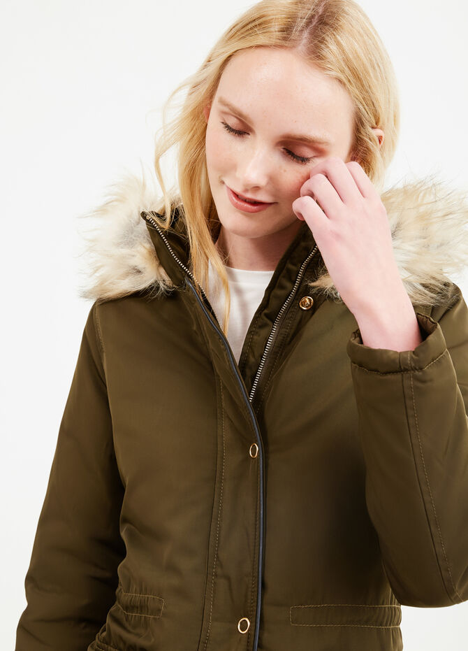 Solid colour parka with hood