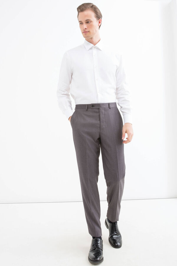 Viscose blend trousers with crease