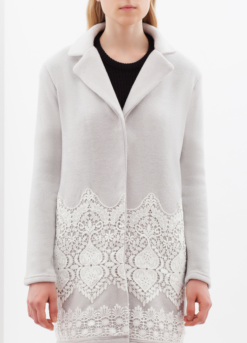 Cardigan lungo con inserti in pizzo image number null