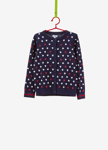 Heart-patterned cardigan in 100% cotton