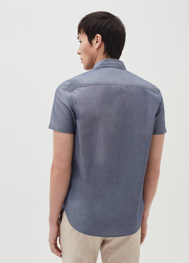 Short-sleeved shirt with button-down collar image number null
