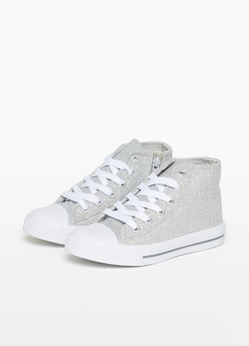 High-top sneakers with glitter canvas upper