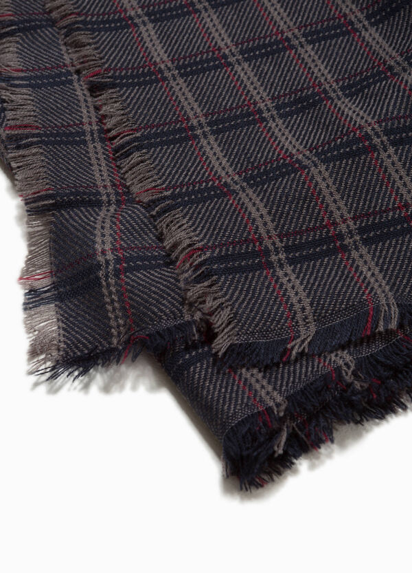 Check scarf with fringed trim | OVS