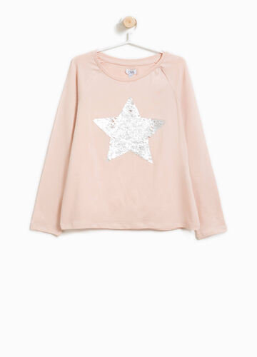 T-shirt cotone stretch paillettes a stella