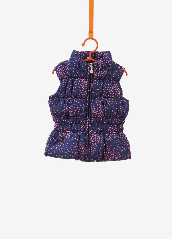Gilet with stitching and all-over hearts print