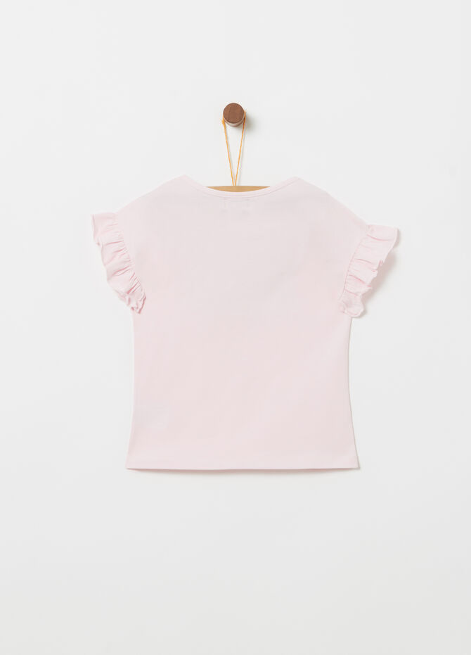 T-shirt in jersey stretch con stampa glitter