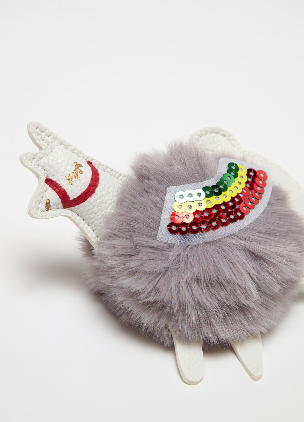 Snail keyring with pompom and sequins