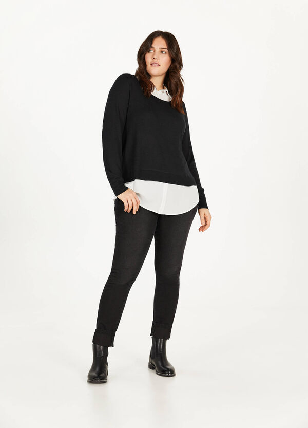 Curvy pullover with faux layer