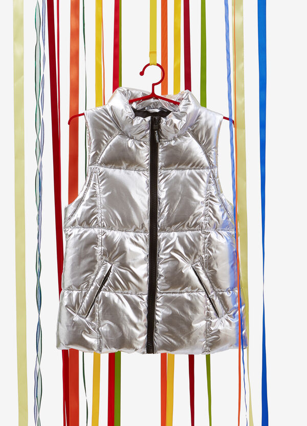 Shiny quilted gilet with high neck