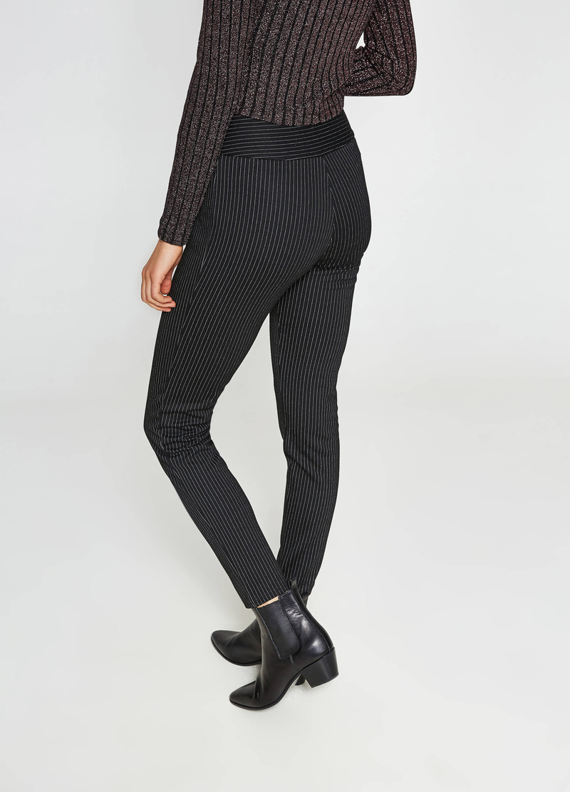 High-waisted trousers in striped viscose image number null