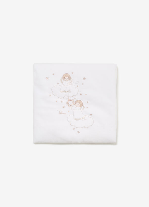 THUN cotton blanket with Angels embroidery