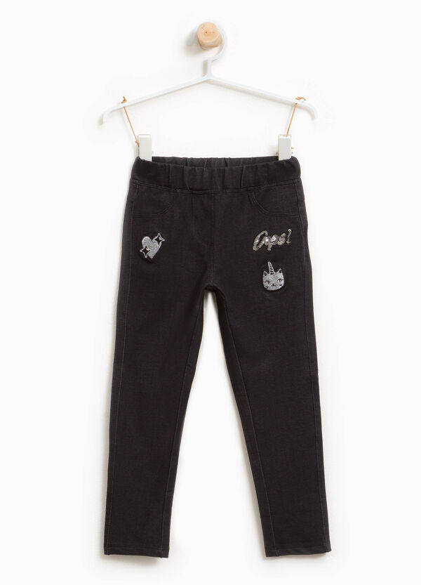 Stretch trousers with sequins and patches | OVS