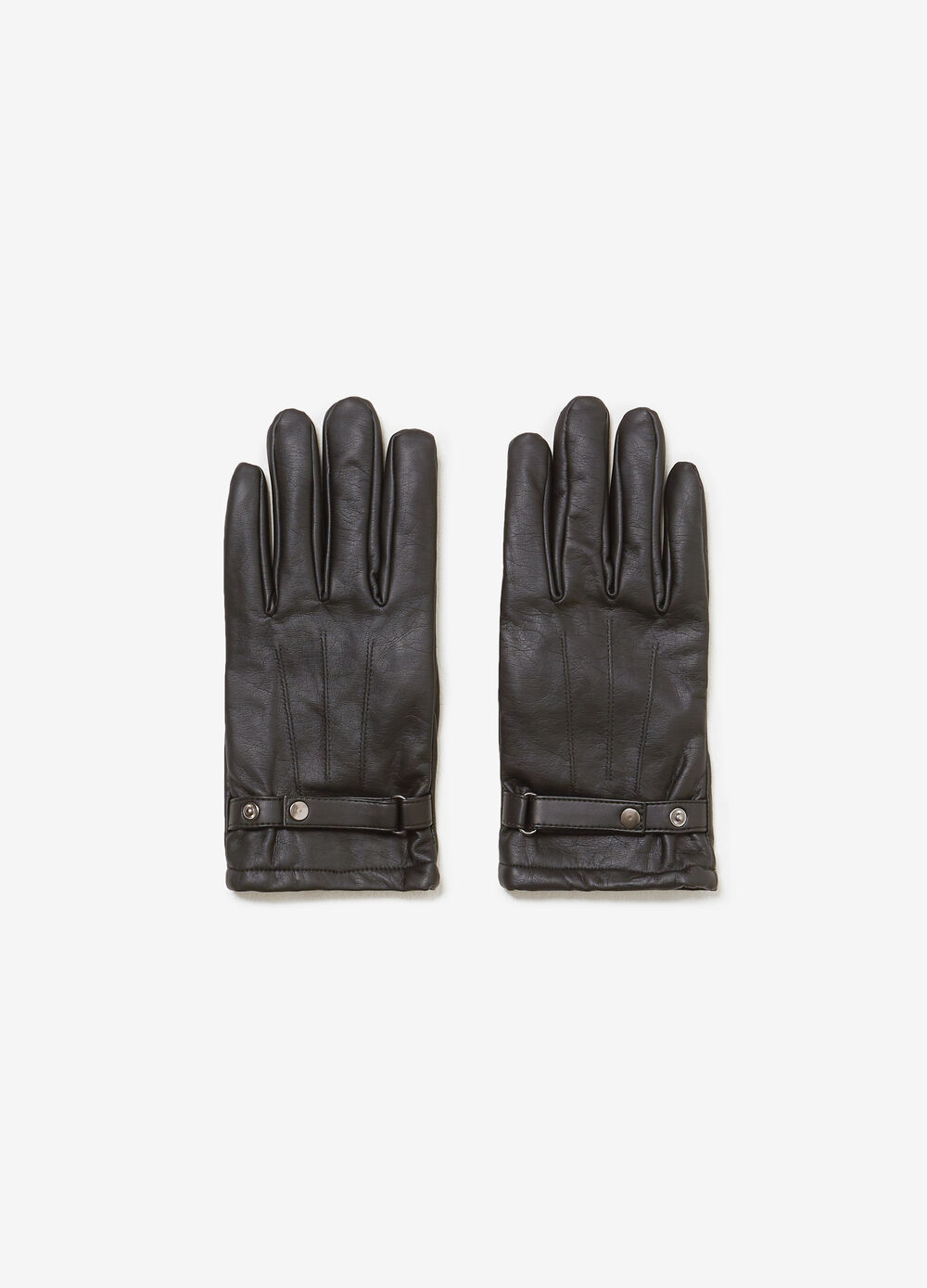 Faux leather gloves with ties