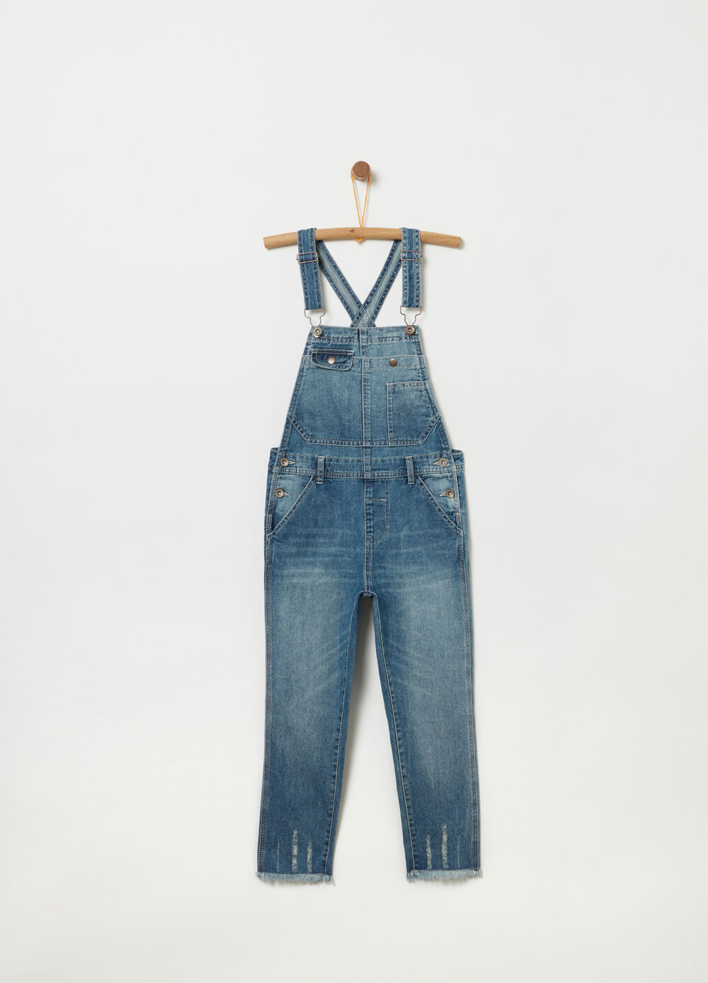 Boyfriend dungarees with fringed hem