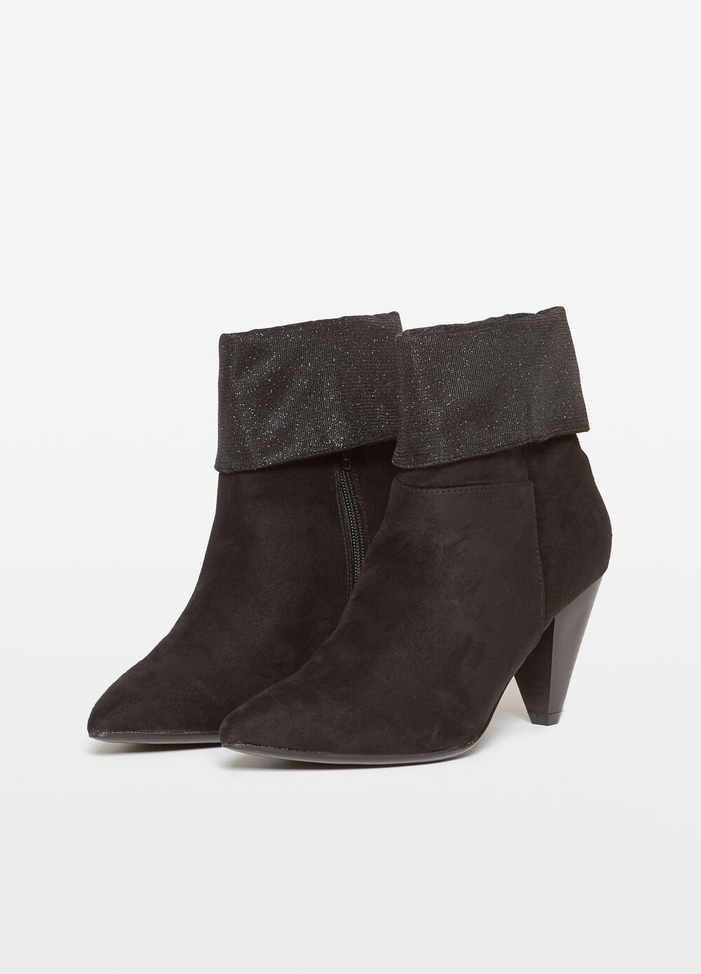 Ankle boot with turndown top and lurex