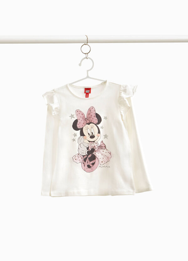 T-shirt with flounce and Minnie Mouse print