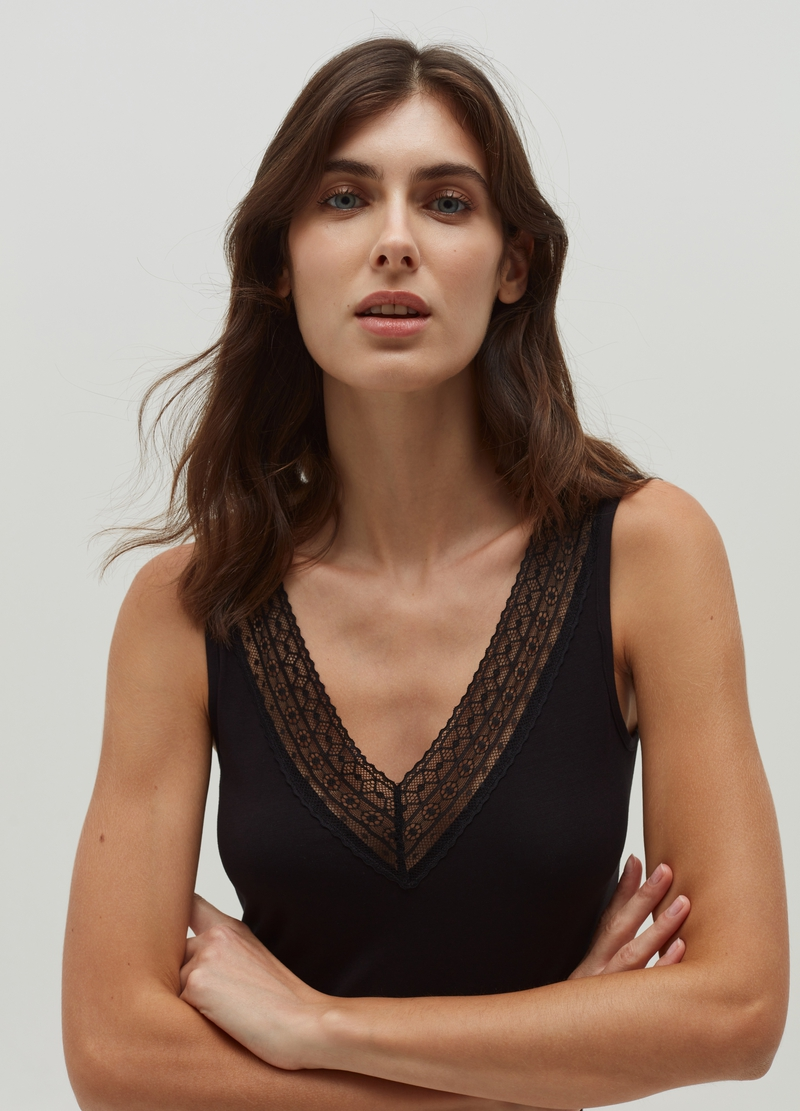 Viscose vest with lace insert image number null