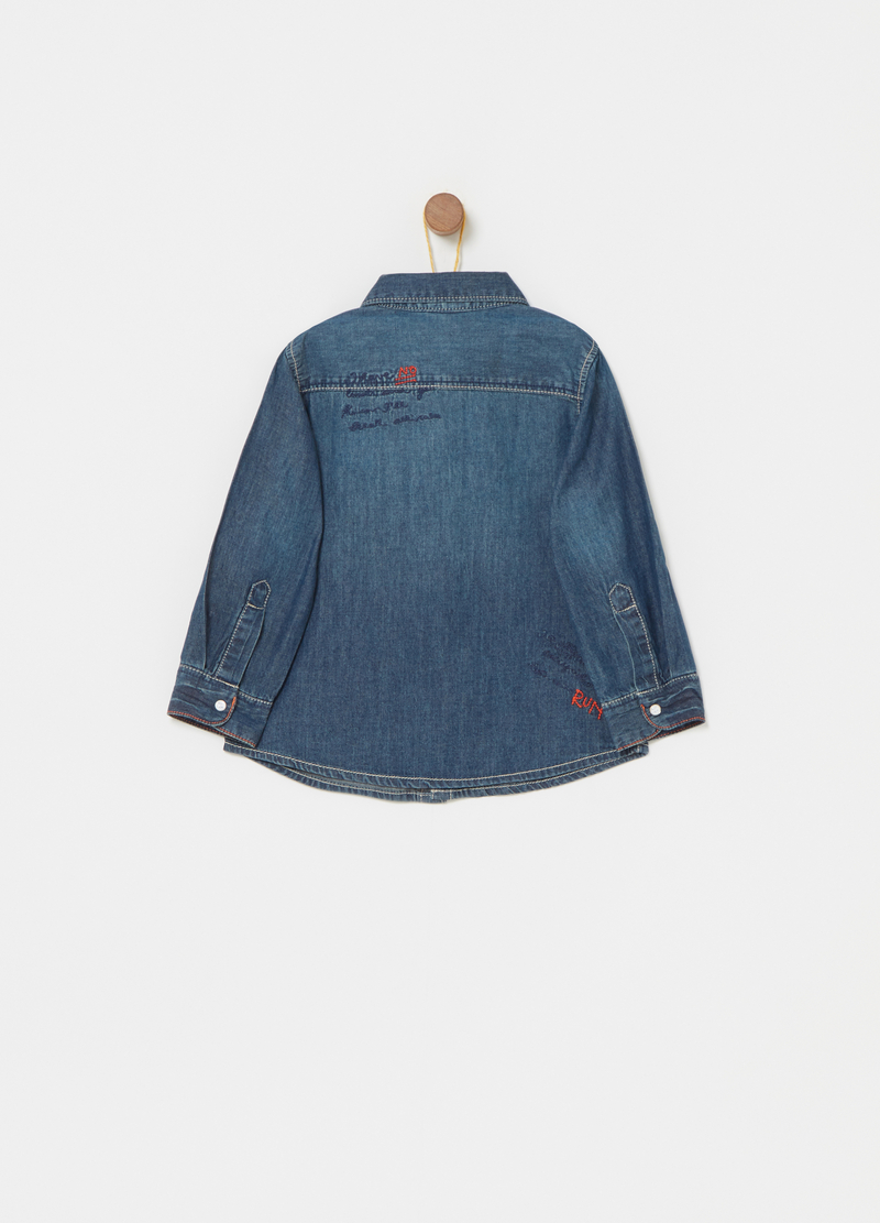 Washed-effect denim shirt with embroidery image number null