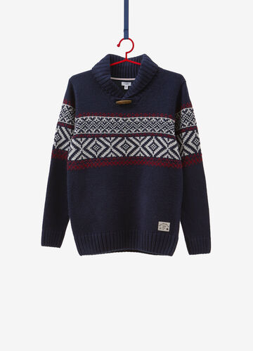 Knitted pullover with toggle and patterned insert