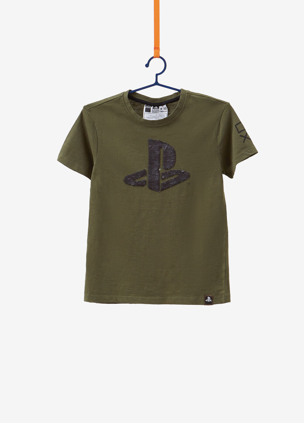 100% cotton T-shirt with sequins and Playstation print
