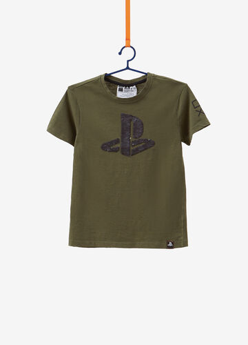 T-shirt puro cotone paillettes Playstation