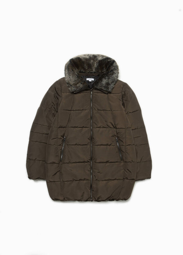 Long down jacket with fur collar