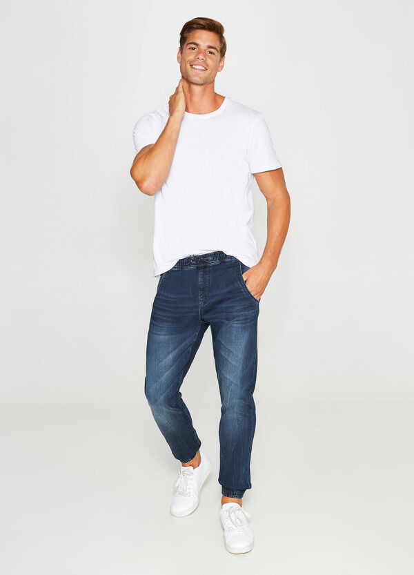 Loose-fit jeans with whiskering and drawstring | OVS