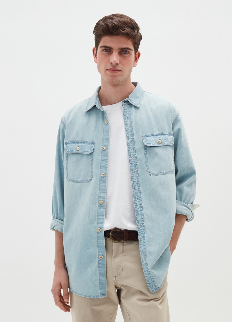 Denim shirt with pockets image number null