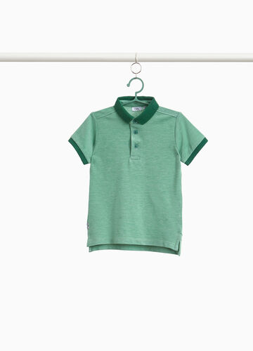 Cotton blend polo shirt with splits