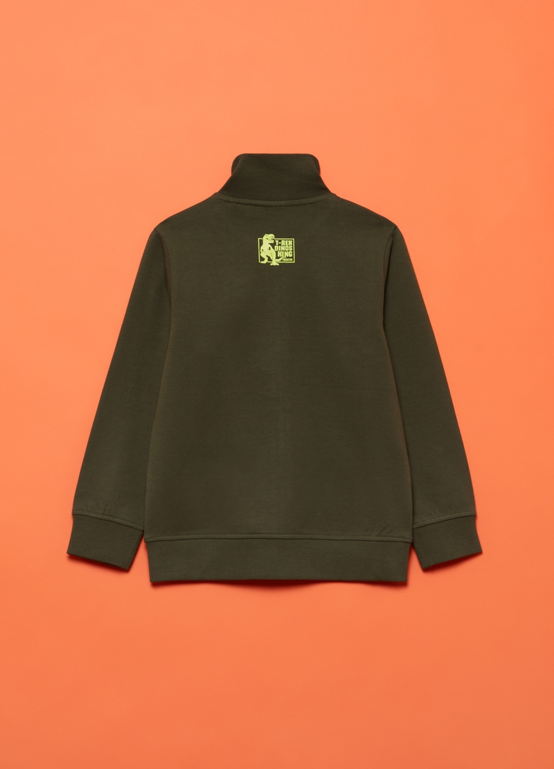 Full-zip sweatshirt with high neck and dinosaur print image number null